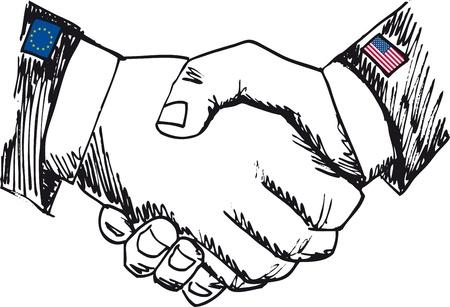 alianza: Alianza entre los pa�ses. Boceto de la mano de negocios agitar entre dos colegas. Ilustraci�n vectorial