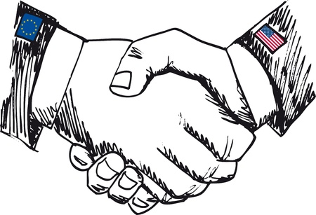 nationalism: Alliance between countries. Sketch of business hand shake between two colleagues. Vector illustration