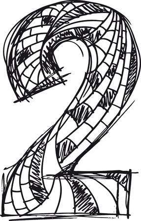 numbers abstract: Abstract hand drawn number 2 Illustration