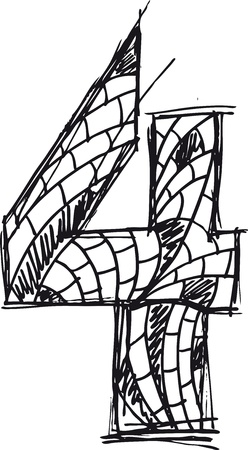 number 4: Abstract hand drawn number 4 Illustration