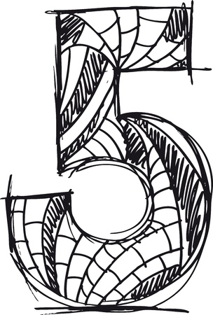 Abstract hand drawn number 5 Vector