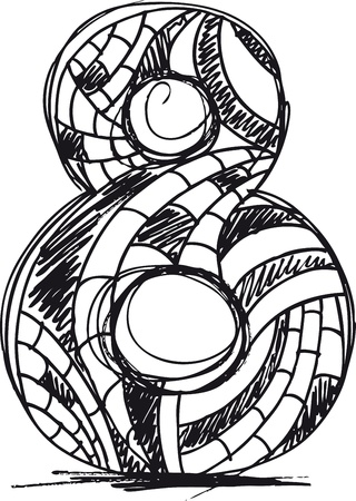number eight: Abstract hand drawn number 8 Illustration