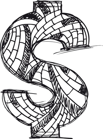 Abstract hand drawn Dollar symbol  Stock Vector - 11914684