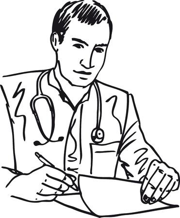 patient: Schets van medische arts met een stethoscoop zittend aan een bureau in h