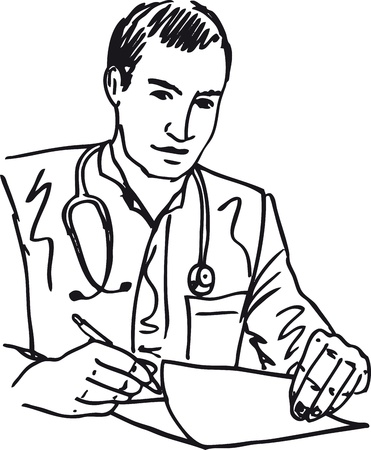 patient in hospital: Sketch of Medical doctor with stethoscope sitting at a desk in h