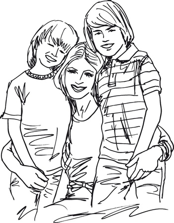 dzień matki: Szkic matki i dzieci Relaks. Ilustracji wektorowych