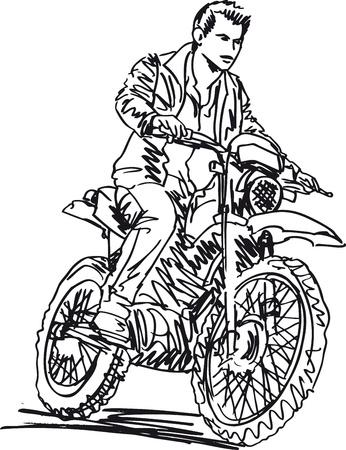 motociclista: Boceto de la velocidad de aumento de moto de motocross en la pista. Vector ilustr