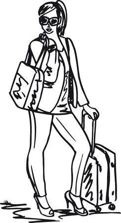 mujer con maleta: Boceto de una mujer joven hermosa con bolsa de viaje. Vector Illust