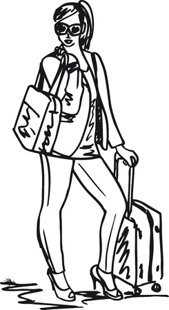 illust: Sketch of a beautiful young woman with travel bag. Vector illust