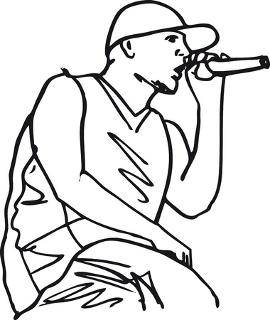 hip hop silhouette: Sketch of hip hop singer singing into a microphone. Vector illustration