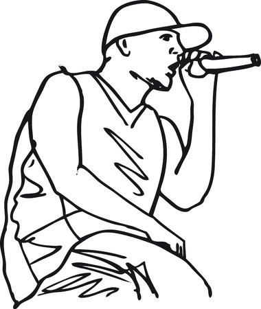 Sketch of hip hop singer singing into a microphone. Vector illustration