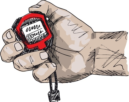 timer: Sketch of Male hand holding a stopwatch. Vector illustration Illustration