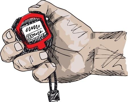 kezdetek: Vázlat a férfi kezében egy stopperóra. Vektoros illusztráció