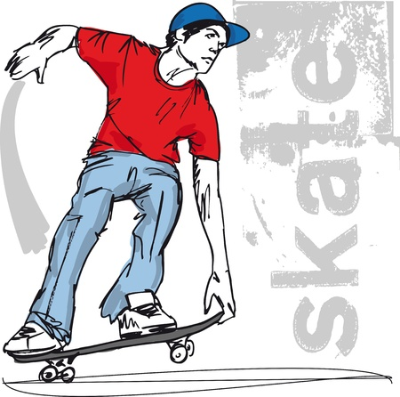 skateboarder: Sketch of Skateboard boy. Vector illustration