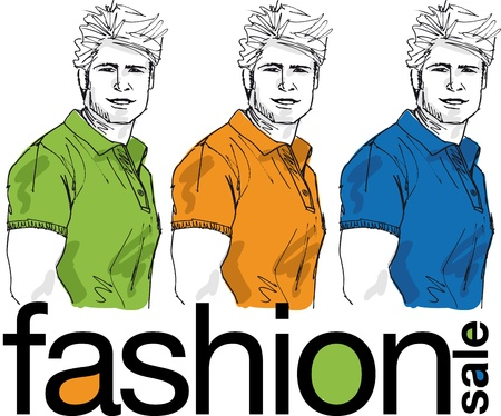 Fashion sale, Sketch of handsome men. Vector illustration Vector