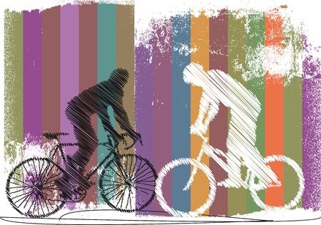 bicycle helmet: bikers illustration Illustration