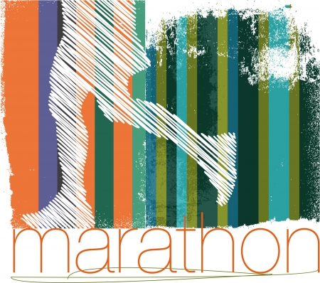 road runner: Marathon runner in abstract background. illustration