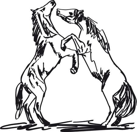 trotando: Semental Sketch. ilustraci�n