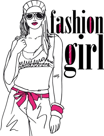 hot body girl: schizzo di fashion girl sexy. illustrazione Vettoriali