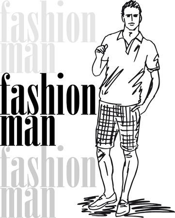 Sketch di moda uomo bello. illustrazione Vettoriali