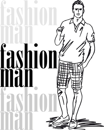 tee shirt template: Sketch of fashion handsome man. illustration
