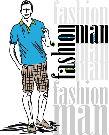 casual wear: Sketch of fashion handsome man. illustration