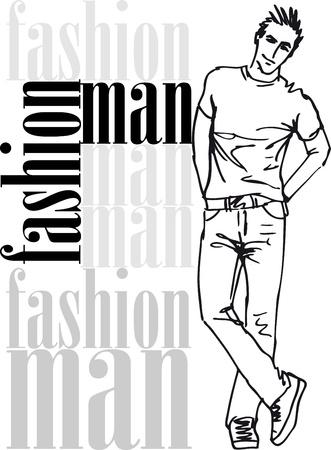 ふだん着: ハンサムな男性のファッションのスケッチ。図  イラスト・ベクター素材