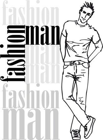male fashion model: Sketch of fashion handsome man. illustration