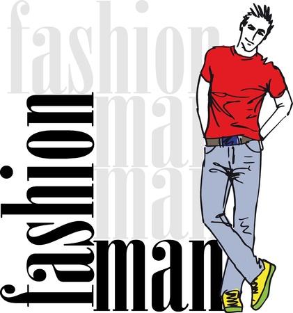 vogue: Sketch of fashion handsome man.  illustration