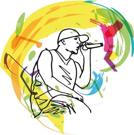 Sketch di hip hop canto cantante in un microfono. illustrazione Vettoriali