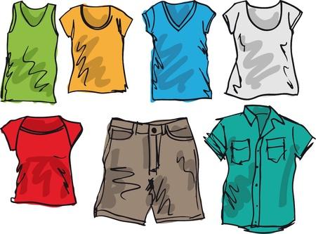 kurz: Sommer Kleidung Skizze Sammlung. Abbildung