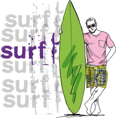 Sketch of man with surfboard. illustration Vector