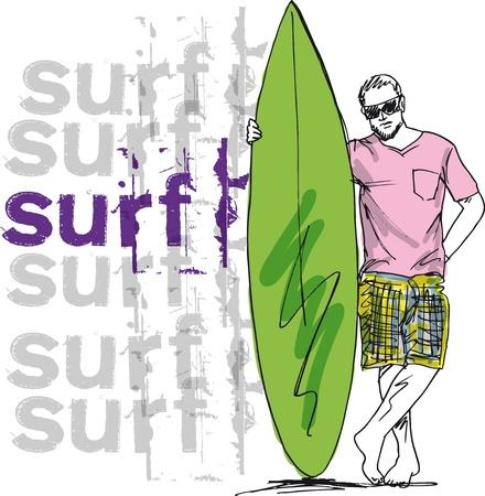 Bosquejo del hombre con la tabla de surf. ilustración