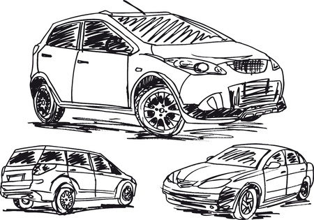 capot voiture: croquis de 3 voitures. illustration Illustration