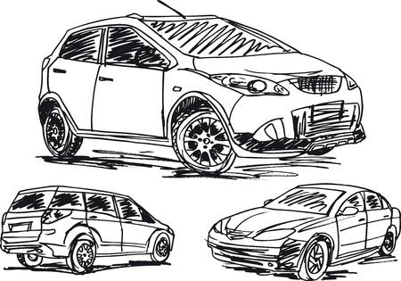 prestige car: sketch of 3 cars. illustration Illustration