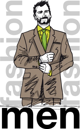 Sketch of fashion handsome man. illustration Vector