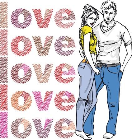 teenagers having fun: Sketch of couple. illustration