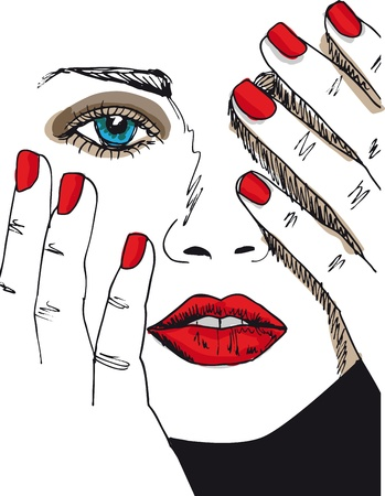 nails: Sketch of beautiful woman face. illustration
