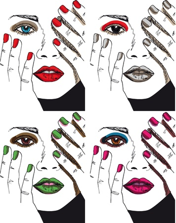 nail: Sketch of beautiful woman face. illustration