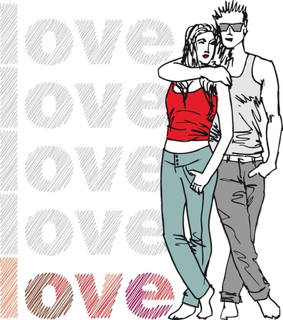 young man jeans: Sketch of couple. illustration