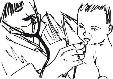 pediatra: Sketch del médico y el bebé. ilustración