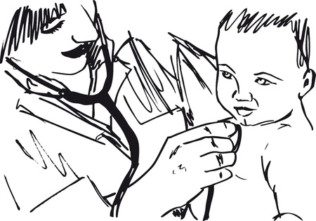 patient in hospital: Sketch of doctor and baby. illustration