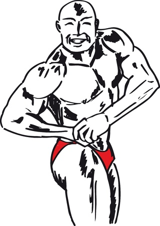 Sketch of bodybuilder. illustration Vector