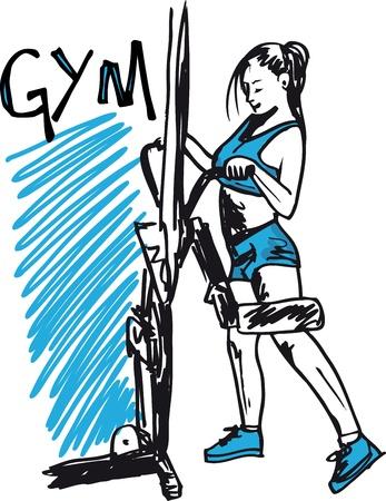 gym equipment: Sketch della donna esercita su macchine in palestra - centro benessere.