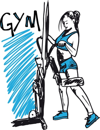 weight machine: Sketch of woman exercising on machines at gym - health club.