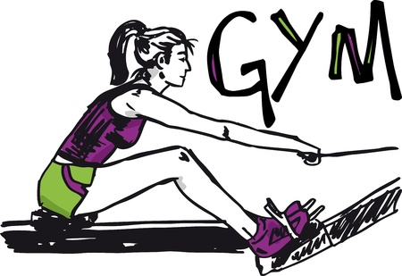Sketch of woman exercising on machines at gym - health club. Vector