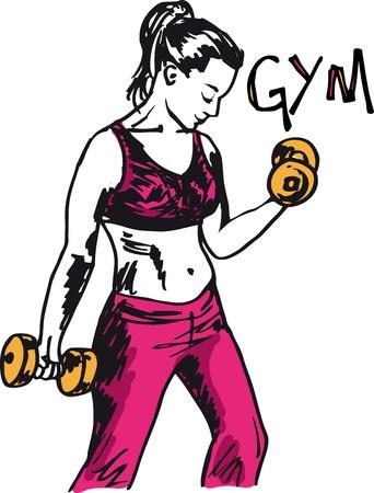 weights: Sketch di una donna che lavora in palestra con i pesi con manubri. illustrazione Vettoriali