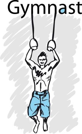 muscular build: sport gymnastics rings. illustration