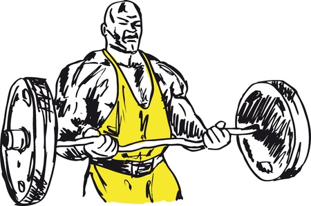 weightlifting: Sketch of strong man. illustration