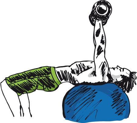 bodybuilder man: Sketch of strong man. illustration
